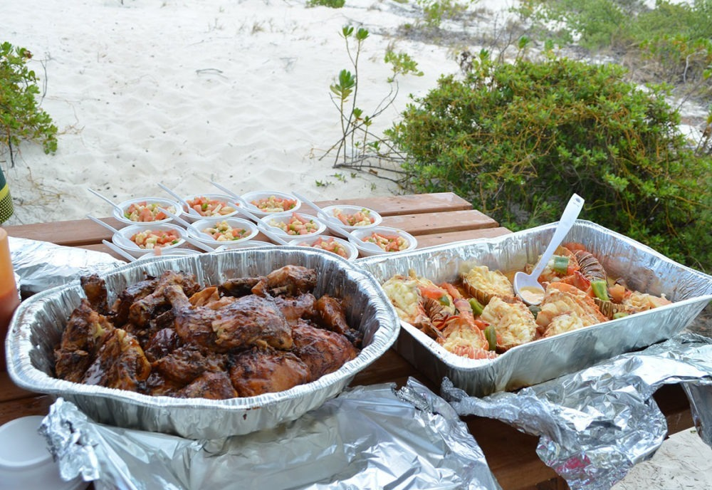 Barbeque lunch on Turks and Caicos Islands